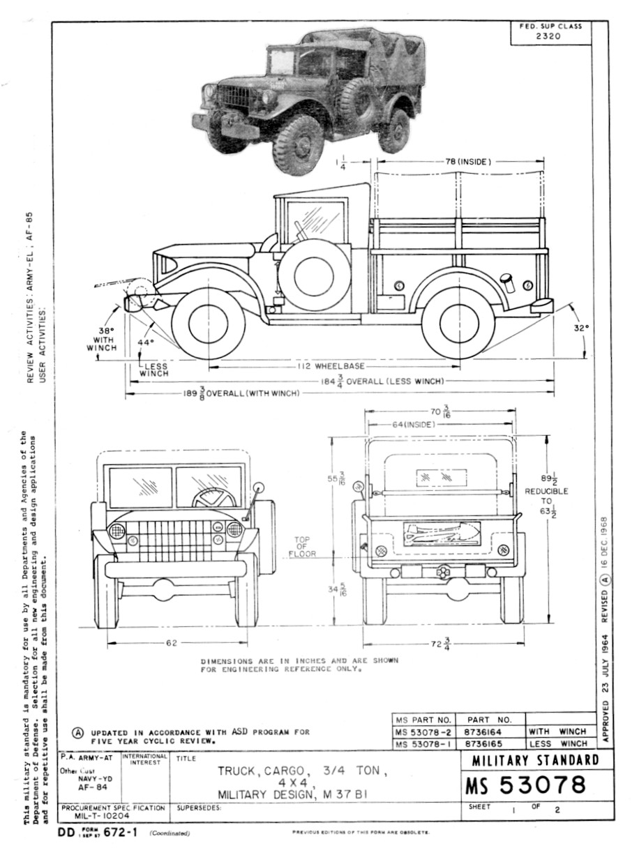 Dodge M37 And M43 Scale Drawings Missing Lynx